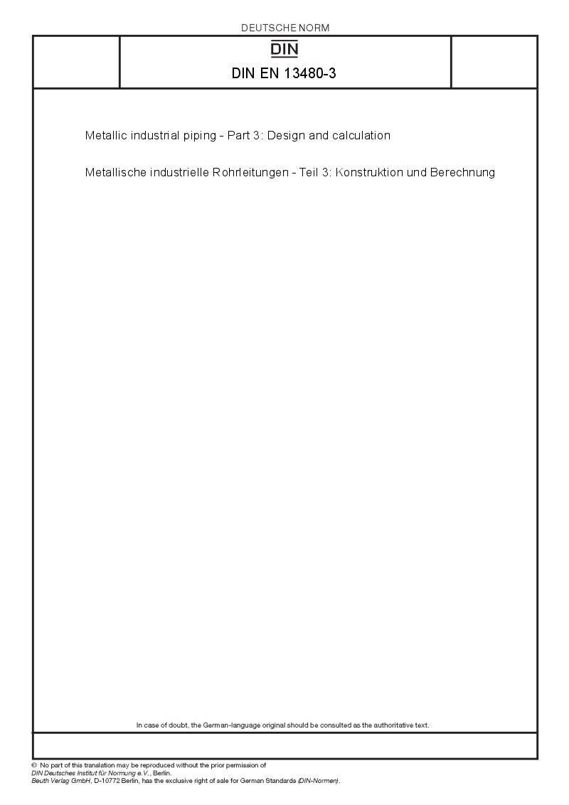 Set DIN EN 13480 - part 1 - 8 Metallic industrial piping