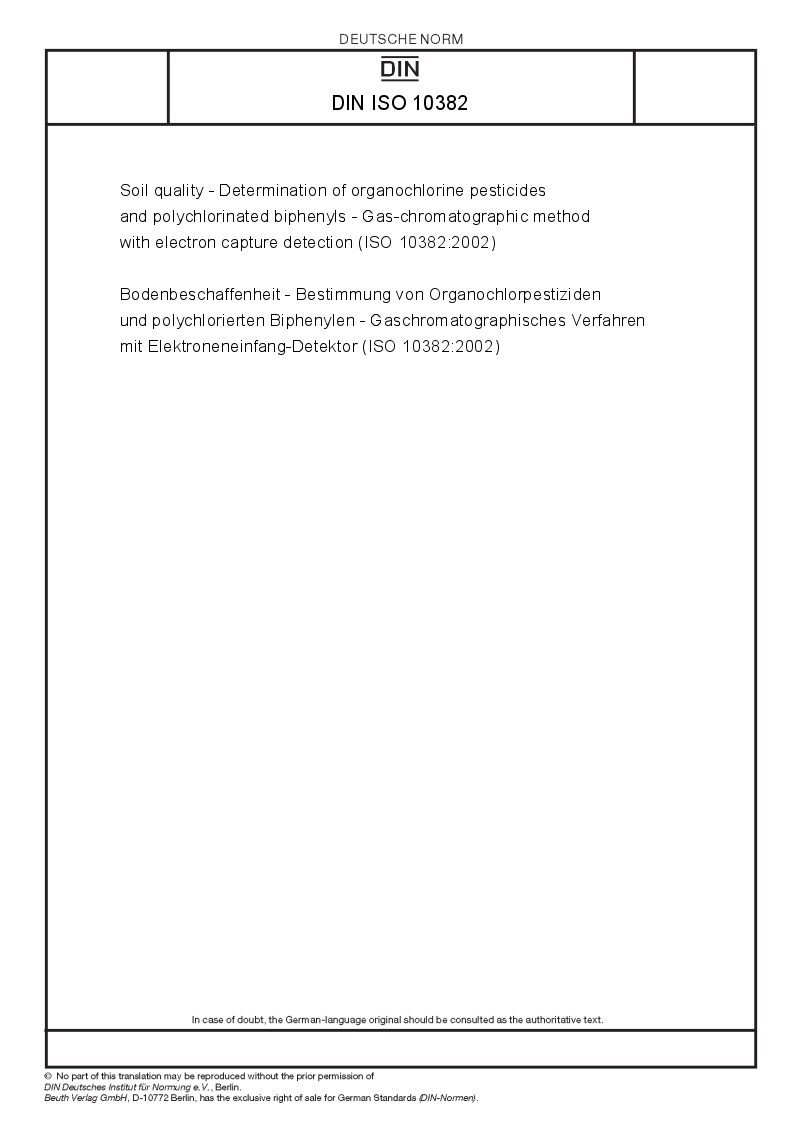Din iso 10382 european standards for Soil quality