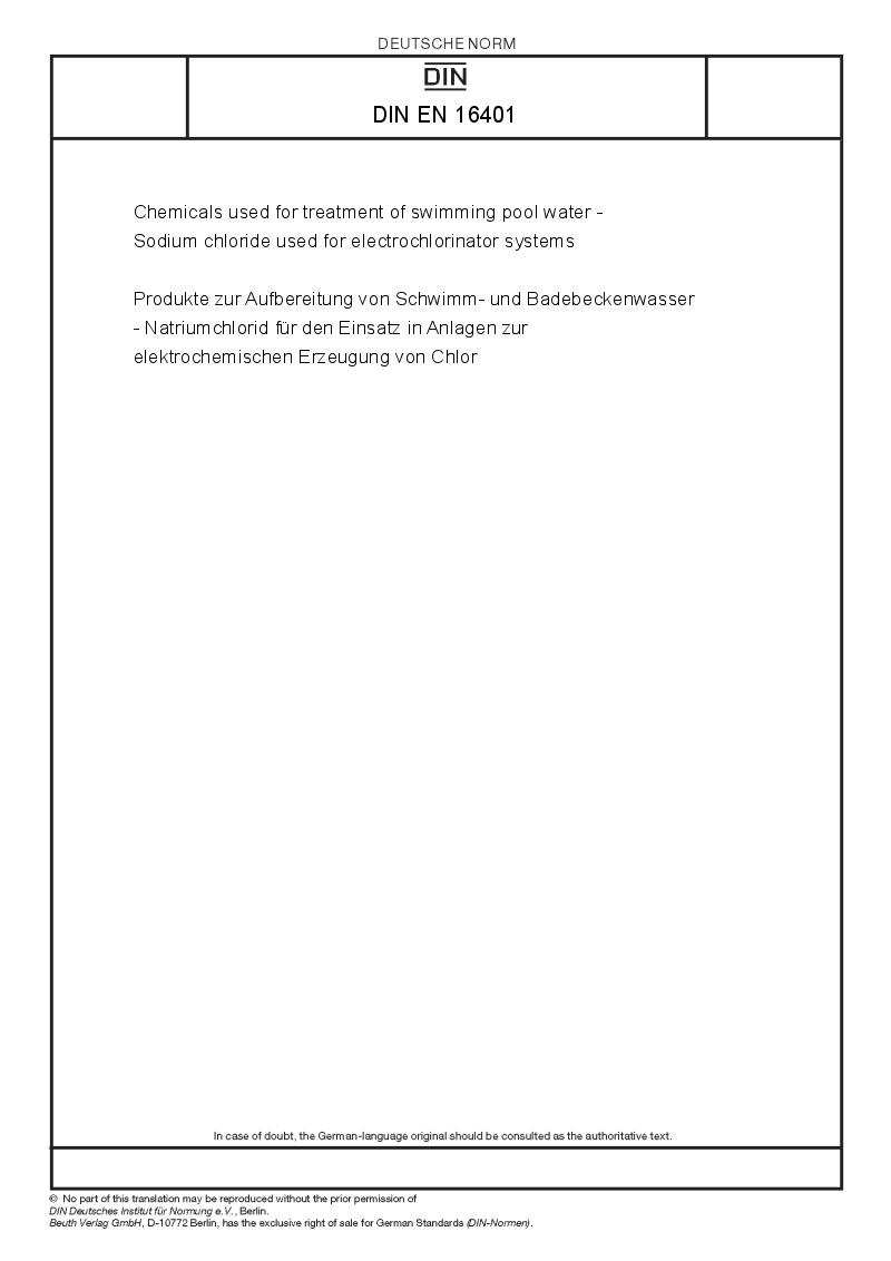 Din en 16401 european standards - Swimming pool water treatment chemicals ...