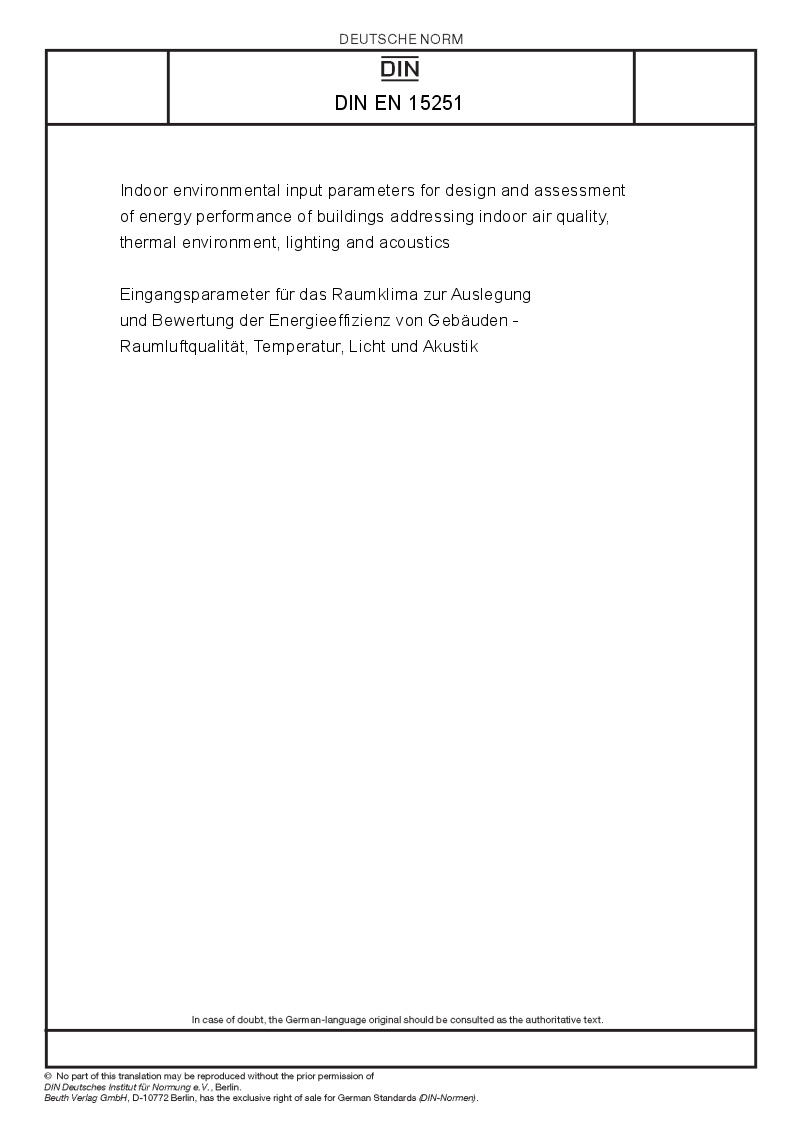 Din en 15251 european standards for Indoor environmental quality design